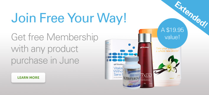Join Shaklee free with any product purchase