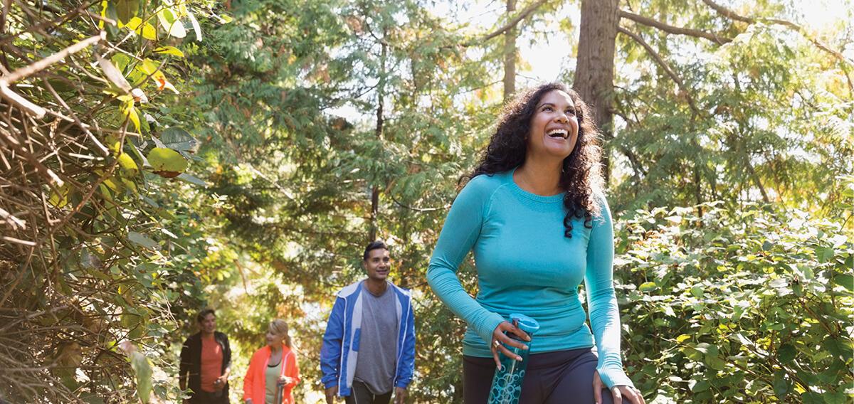 Adults hiking