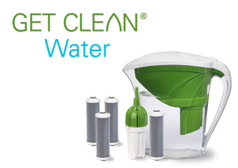 "Get Clean Water® ""Year of Clean Water"" Starter Pack with Water Filter Refill 3-Pack"