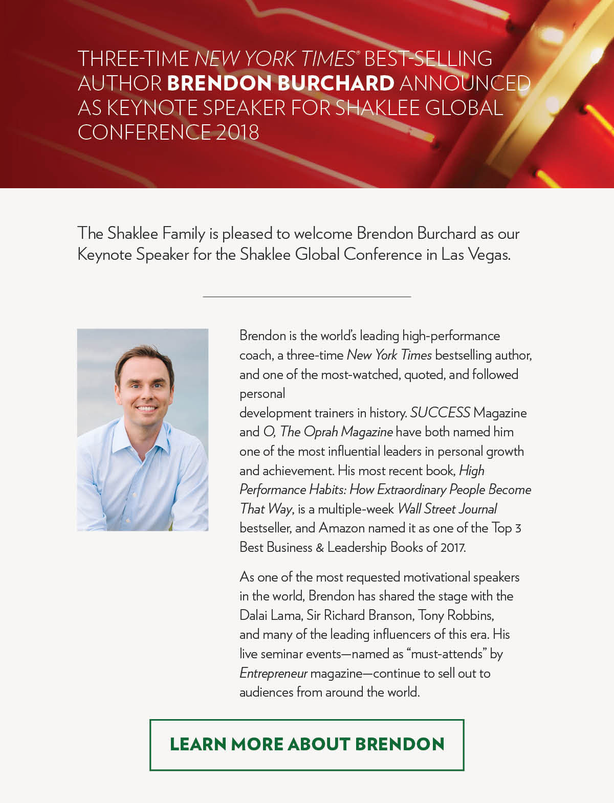 Three Time New York Times® Best-selling author Brendon Burchard announced as Keynote Speaker for Shaklee Global Conference 2018